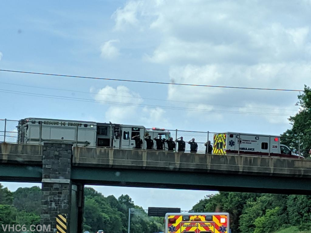 RS14 (Carroll Manor) and A239 (Urbana) greet the procession as it continued into Frederick County