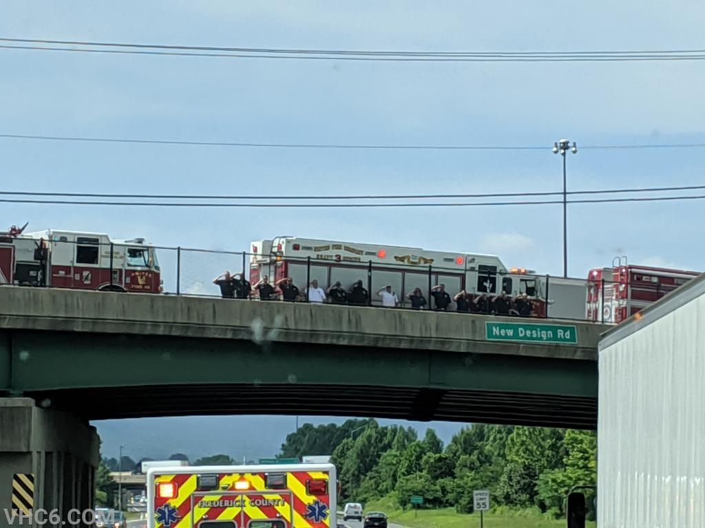 Frederick County DFRS Units as the procession enters Frederick City