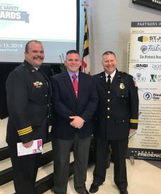 L to R: VHC Fire Chief Chad Umbel; Dave Zentz; Acting Director/Deputy Chief of Frederick County Volunteer Svcs. Kevin Fox.