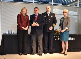 L to R: Frederick County Executive Jan Gardner; Dave Zentz; Frederick County Fire Chief Tom Owens; Frederick County Chamber of Commerce President Elizabeth Cromwell