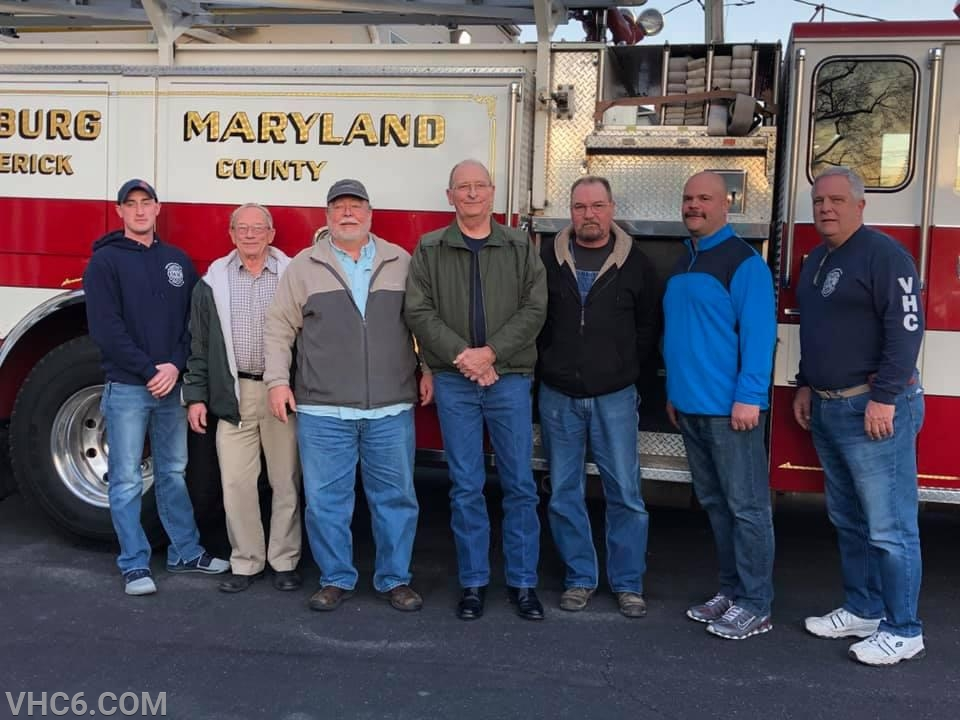 Assistant Chief Josh Brotherton (far left) with PMVFD volunteers along with VHC Fire Chief Chad Umbel (second from right) and VHC President Frank Davis (far right)