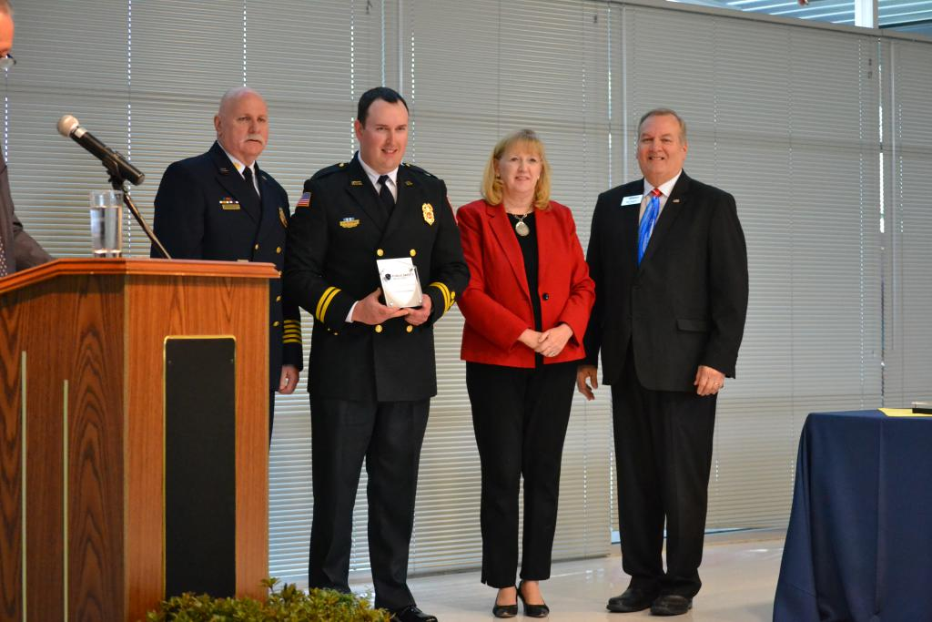 L to R:  FC Tom Owens (DFRS), Capt. McKenna, Jan Gardner, Frederick County Executive, Frederick County Chamber of Commerce President Rick Weldon